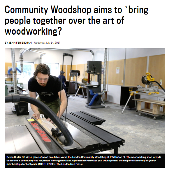 Community Woodshop Aims.. LFP article